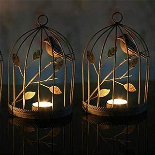 Candle Holders - European Style Iron Birdcage Vintage Candlestick Home Decorated Romantic Creative Ornament - Orange Decorative Iron Fashion Lantern Emergency Illuminate Bath Vase Rose Glass D