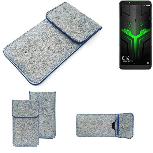 K-S-Trade Handy Schutz Hülle Für Xiaomi Blackshark Helo Schutzhülle Handyhülle Filztasche Pouch Tasche Hülle Sleeve Filzhülle Hellgrau, Blauer Rand