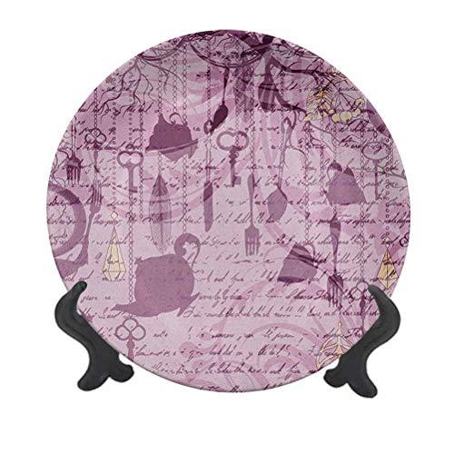 Plato decorativo de cerámica de 15,24 cm, para colgar tazas de té, relojes y cuberterías, caligrafía, decoración de pared de cerámica para decoración de recepción de bodas