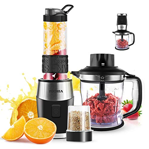 Blender and Food Processor Combo FOCHEA Smoothie Shake Blender,700W Powerful Mixer Blender/Chopper/Grinder with Portable 570ml BPA-Free Bottle, Easy to Use and Clean