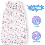 Lictin Schlafsack Baby Winterschlafsack 1.0 Tog Babyschlafsack Einstellbar 90-110cm für Neugeborene...