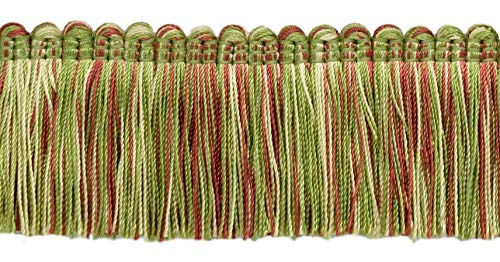 4.6 Meter Value Pack - Alexander Collection 51mm Brush Fringe Trim|White, Red, Green|Style#: 0200AXB (21763)|Color: Dusty Rose - LX06 (15 Ft / 5 Yards)