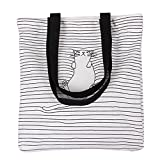 Nuni Women's Black Stripe Lazy Cat Canvas Tote Convertible Shoulder Bag White (black handles)