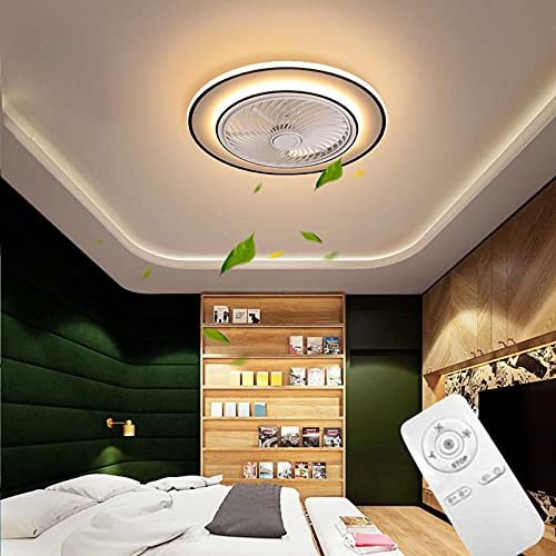 LED Ventilador De Techo Con Luz Moderna Creativo Invisible Fan Plafón De Techo con Control Remoto Regulable Dormitorio Silencioso Ventilador Lámpara 52W para Salón Sala de Estar Comedor Blanco VOMI