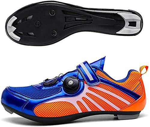 KUXUAN Zapatillas De Ciclismo De Carretera para Hombre Zapatillas De Bicicleta De Montaña Zapatillas De Bicicleta De Triatlón,Blue-37 EU