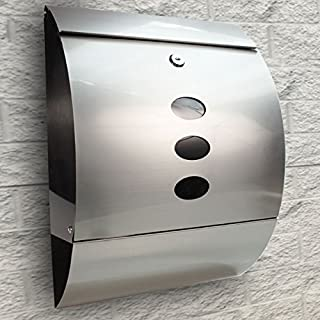 Goujxcy Mailbox,Wall Mount Lockable Mailbox - Modern Outdoor Stainless Steel Large Capacity, Commercial Rural Home Decorative, Office Business Parcel Box Packages Drop Slot Secure Lock,Silver