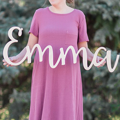 """Custom Personalized Wooden Name Sign 12-55"""" WIDE - Emma Font Letters Baby Name Plaque PAINTED nursery name nursery decor wooden wall art, above a crib"""