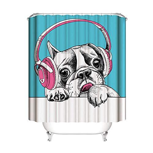 AnazoZ Douchegordijn, badgordijn, dier, hond, waterdicht, anti-schimmel, incl. 12 gordijnhaken, voor badkamer, woonaccessoires, set badkuip