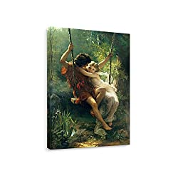 Niwo Art - Spring 1873, by Pierre Auguste Cot - Oil Painting Reproduction - Giclee Wall Art for Home Decor,Office or Lobby, Gallery Wrapped, Stretched, Framed Ready to Hang (36x24x1.5)