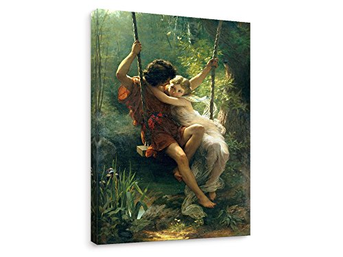 Niwo Art - Spring 1873, by Pierre Auguste Cot - Oil Painting Reproduction - Giclee Wall Art for Home Decor,Office or Lobby, Gallery Wrapped, Stretched, Framed Ready to Hang (36'x24'x1.5')