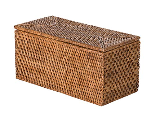 Kouboo La Jolla Rectangular Rattan Box Honey-Brown Toilet Roll Storage Basket