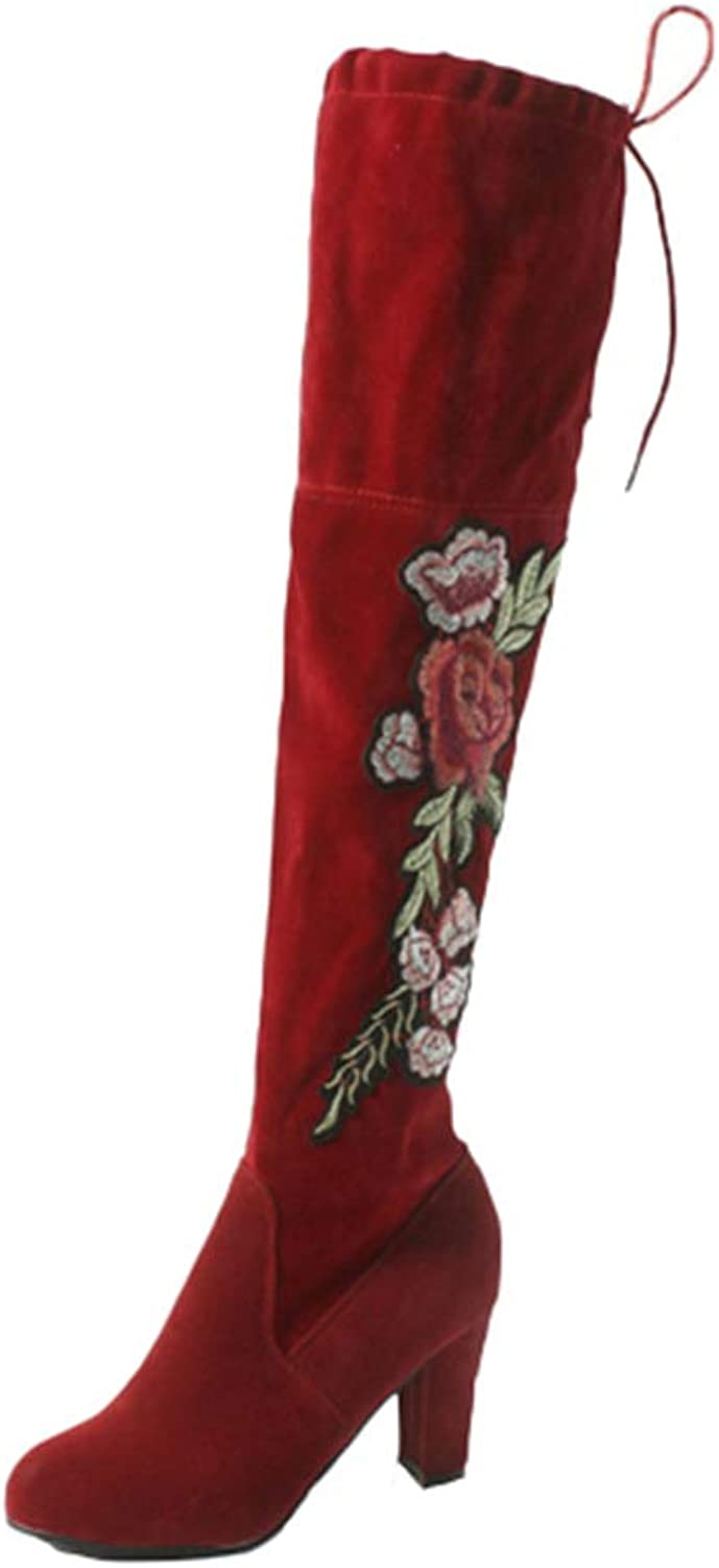 Ladies Boots Fashion New Over The Knee Boots High Heel with Embroidered Winter Thigh High Boots for Women