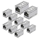 UCEC RJ45 Acoplador, 10 unidades de adaptadores extensores de cable Ethernet, acoplador en línea de metal para Cat7 Cat6a Cat6 – Hembra a Hembra