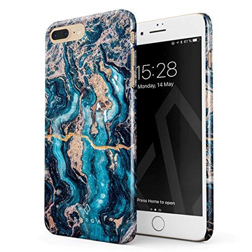 BURGA Hülle Kompatibel mit iPhone 7 Plus / 8 Plus - Handy Huelle Blau Marmor Muster Blue Teal Turqoise Türkis Marble Mädchen Dünn Robuste Rückschale aus Kunststoff Handyhülle Schutz Case Cover