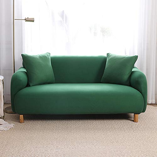 Funda para Sofá Elástica 1 2 3 4 Plazas Verde Impresión Antideslizante en Tejido Elástico Suave Extensible Protector para Sofa Cama (4 Plaza: 235-300 cm)