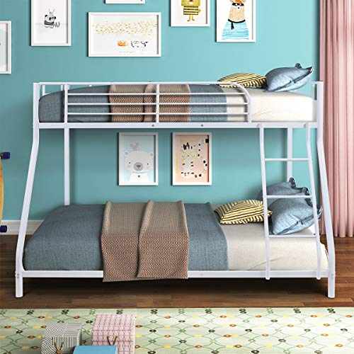 Bunk Bed Twin Over Full Sturdy Steel Metal Bed Frame with Flat Ladder and Guardrail for...