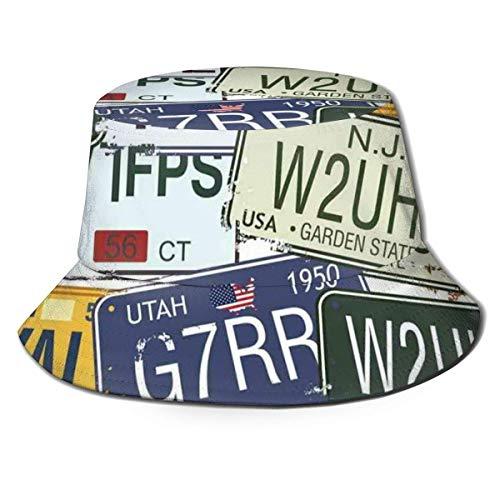 Gorra de Pescador Placas de Licencia de Estilo Retro Originales Unisex Personalizadas Viajes creativos Vacaciones Verano Viajes Sombrero de Playa
