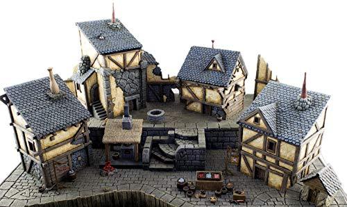 War World Gaming Fantasy Village - Aldea Medieval Fantástica - 28mm Wargaming Medieval Miniaturas Maquetas Dioramas Edificios Wargames Guerra Pueblo Edad Media