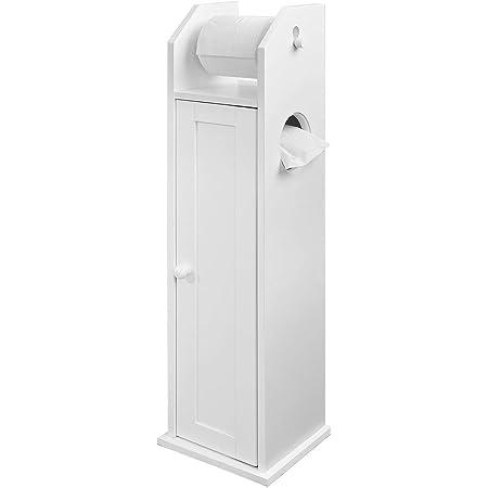 SoBuy® FRG135-W Support Papier Toilette Armoire Porte-papier Toilette Porte Brosse WC Meuble de Salle de Bain Sur Pied en Bois - Blanc
