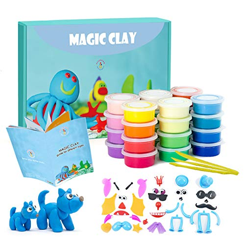 Modeling Clay Kit  24 Colors Air Dry Ultra Light Magic Clay Soft amp Stretchy DIY Molding Clay with Tools Animal Accessories Easy Storage Box Kids Art Crafts Gift for Boys amp Girls Age 312 Year Old