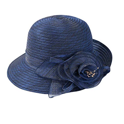 DOLDOA Hut Damen Sommer,Frauen Organza Kirche Kentucky Derby Fascinator Bridal Tea Party Hochzeit Hut (Marine)