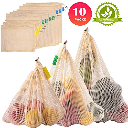 Zindoo Bolsa Reutilizable Algodon, Alternativa al plástico, Lavable y Transpirable Bolsa de Malla para Almacenamiento Fruta Verduras Juguetes 10PCS (3S*4M*3L)