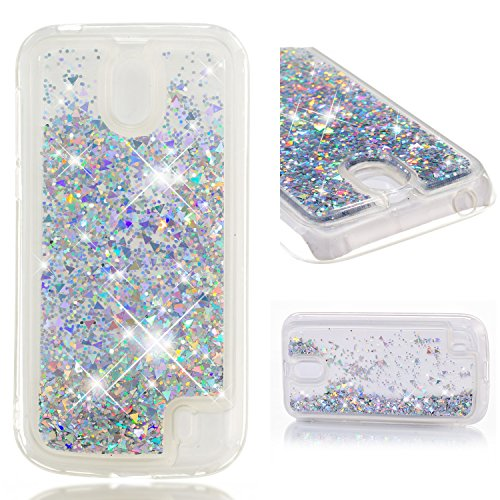 COZY HUT Custodia Nokia 1 Glitter Cover,Brillantini Trasparente Silicone Sabbie Mobili Bumper Case per Custodie Nokia 1 - Cristallo di Diamanti in Oro e Argento