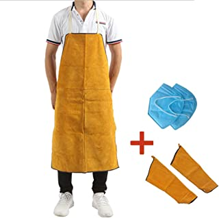 Welding Suit, Cowhide One-Piece Welder Anti-Dressing, Anti-arc Wear-Resistant High Temperature Welding Apron
