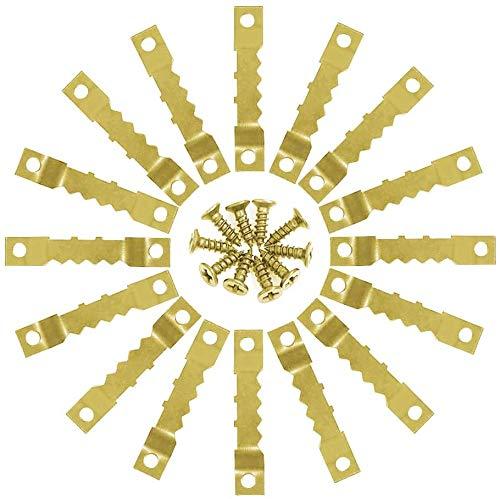 MEESOGA Zackenaufhänger Bildaufhänger mit 200 Schrauben - 100 Pack Sägezahn Bild Aufhänger für Bilderrahmen zur Bildaufhängung Wandbefestigung für Ölgemälde Bilderrahmen (Gold)