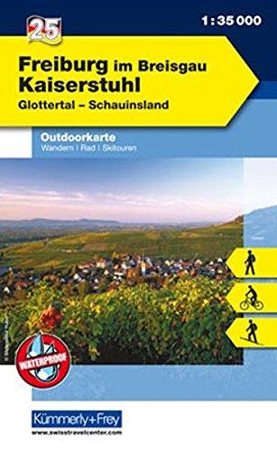 Outdoorkarte 25 Freiburg im Breisgau - Kaiserstuhl 1 : 35.000: Wandern, Rad, Skitouren. Glottertal, Schauinsland (Kümmerly+Frey Outdoorkarten Deutschland)
