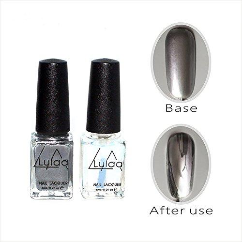Mirror Effect Nail Polish Silver Color with Nail Art Polish Base Coat Gel Nail Art Set