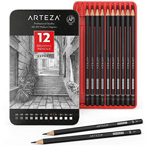 Arteza Professional Drawing Sketch Pencils Set of 12, Medium (6B - 4H), Art Supplies for Drawing Art, Sketching, Shading, Artist Pencils for Beginners & Pro Artists