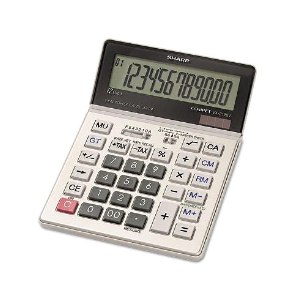 受粉者治す治すvx2128?V Commercialデスクトップ電卓、12桁LCD 1-Pack