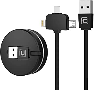 Cafele Lightning+Micro USB+Type 3 in 1 巻取り式充電ケーブル 1m 五段階調節 コンパクト 急速充電 高速データ転送 に適用するiOS &Android 携帯電話/タタブレットPC/電子機器 (ブラック)