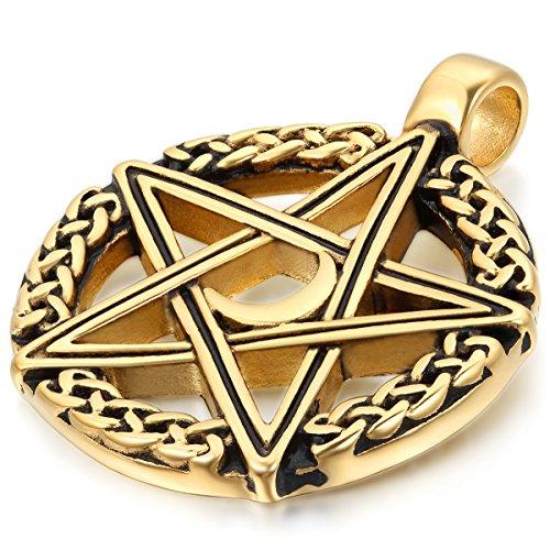 JewelryWe Schmuck Edelstahl Retro Keltischer Pentagramm Amulett Herren-Anhänger mit 55cm Kette, Halskette, Gold Schwarz