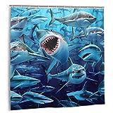 JASMODER Hungry Sharks Duschvorhang Wasserdicht Stoff Waschbar Badvorhang mit 12 Haken, 183 x 183 cm Dekorativer Badezimmervorhang