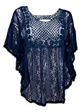 eVogues Plus Size Sheer Crochet Lace Poncho Top Made in USA