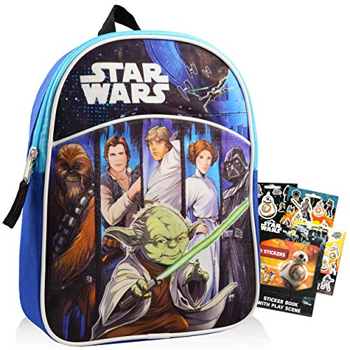 Star Wars Mini Backpack for Preschool Toddlers Bundle ~ Deluxe 11  Star Wars Backpack for Kids with Stickers (Star Wars School Supplies)