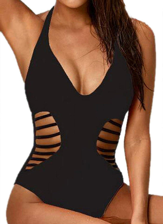 XINSU Frauen-Halter, der Vogue Vogue Vogue aushöhlt, reizvolles rückenfreies Monokini (Farbe   schwarz, Größe   Large) B07Q2LPSZB  Üppiges Design 4542b5