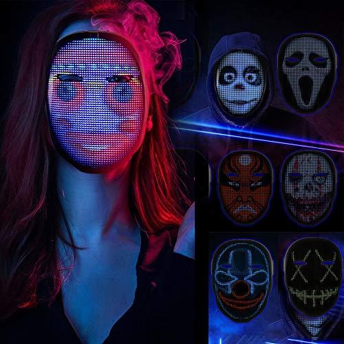 TTLIFE Máscara de luz LED, máscara de Cosplay, Patrones/Textos de Bricolaje, Carga de Fotos y máscara de Ritmo Musical con Control de aplicación Bluetooth, 45 animaciones, 70 imágenes