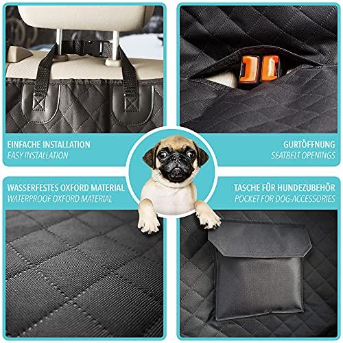 Funda para Perros para Asiento trasero de Coche + Protección lateral, Bolsa de transporte – Cubierta para Perros separable impermeable lavable | Alfombrilla suave antideslizante + Abertura de Cinturón