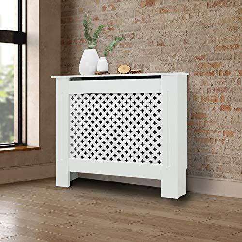ECD Germany Cubierta del Radiador 78x19x82 cm MDF Blanco Lacado Revestimiento Protector Moderno de Calefacción Patrón de Panal Superficie de Estantería Útil de Madera para Sala de Estar Dormitorio