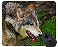 滑り止めラバーゲーミングマウスパッド、ステッチエッジのファンタジーオオカミパターンマウスパッド
