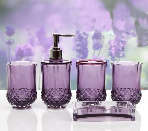 JynXos 5PC Set Acrylic Bathroom Accessories Bathroom Set Glamarous Purple
