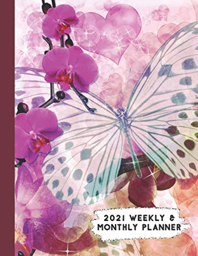 2021 Weekly & Monthly Planner: Pink Purple Butterfly & Orchids Themed Calendar & Journal