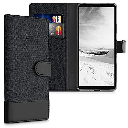 kwmobile Wallet Hülle kompatibel mit Sony Xperia 10 III - Hülle Kunstleder mit Kartenfächern Stand in Anthrazit Schwarz