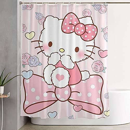 Hello Kitty Shower Curtain , Fabri cpolyester Durable Decor Classical Waterproof for Bathroom Curtains with 12 Matching Hooks