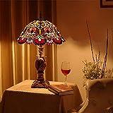 Lampada da tavolo Tiffany da 16 pollici Lampada da comodino Lampada da comodino in vetro colorato per camera da letto Lampada da abbagliamento squisita