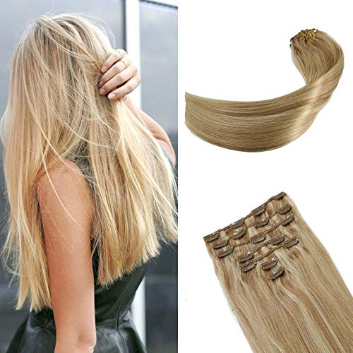 Human Hair Extensions Clip In Strawberry Blonde To Bleach Blonde 10A Grade 18In Real Hair Full Head Soft Silky Straight Human Hair Handmade Toupee For Women 10A Grade 120g7pcs(18ln#27p613)