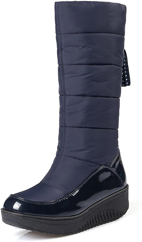 BalaMasa Womens Platform Snow Boots Mid-Calf Urethane Boots ABL10603